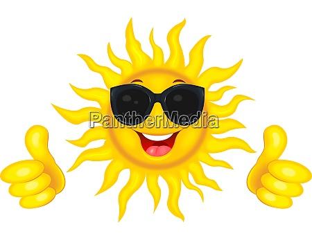 the joyful sun in glasses