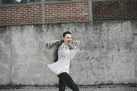portrait of businessman dancing anticipation