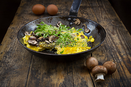 omelette with champignon and fresh cress
