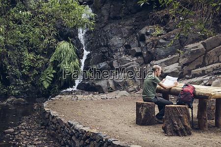 hiker taking a break at rest