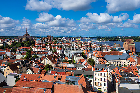 view to the hanseatic town rostock