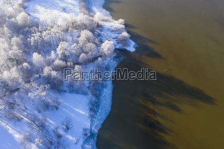 germany bavaria sankt heinrich frozen lakeshore