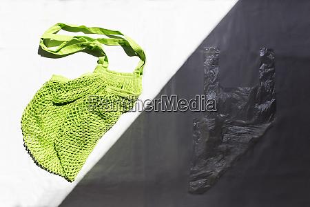 bright green cotton bag next to