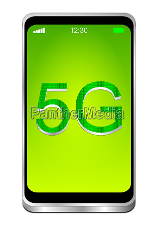 smartphone with green 5g on green