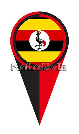 uganda map pointer location flag