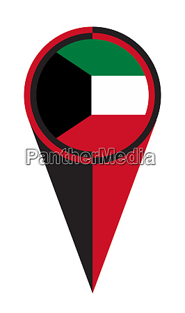 kuwait map pointer location flag