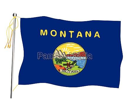 montana state waving flag and flagpole