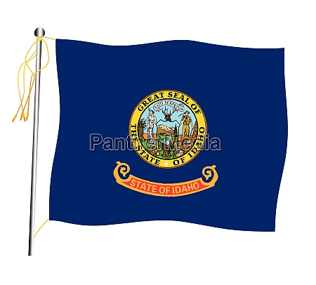 idaho state waving flag and flagpole