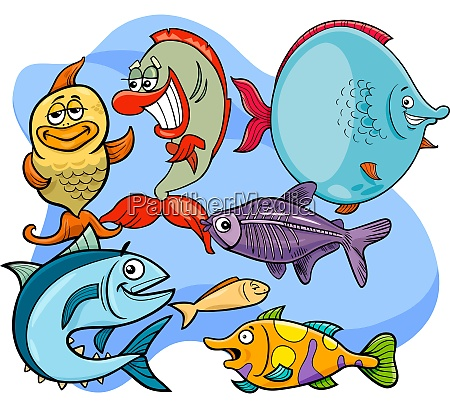 funny fish cartoon animal characters group