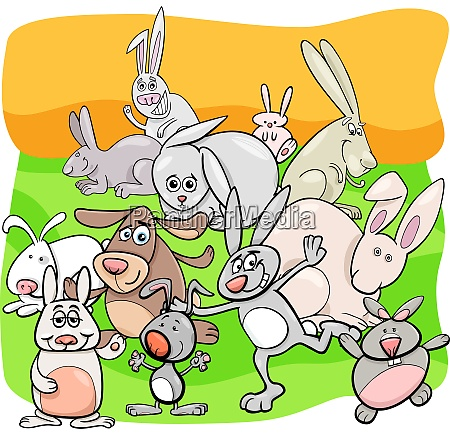 rabbits cartoon animal characters group