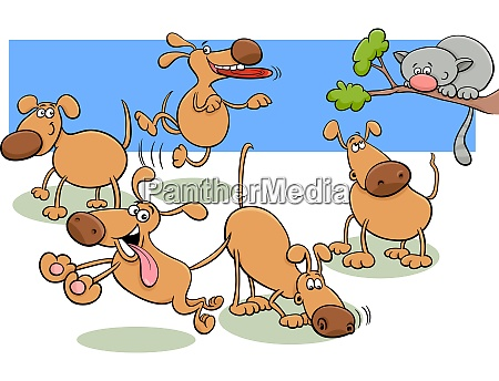 dogs group in park cartoon illustration