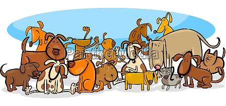 dogs characters large group cartoon illustration