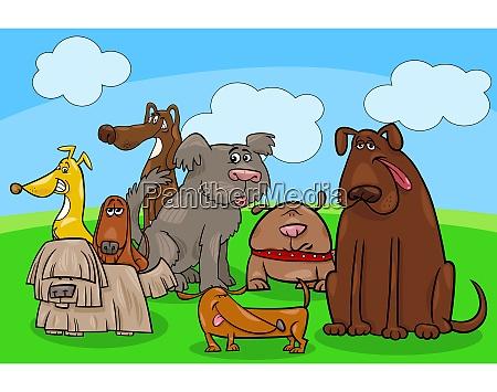 dog cartoon animal characters group