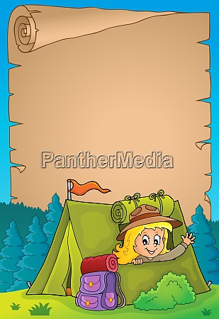 parchment with scout girl in tent