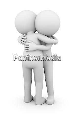 two white men hug 3d illustration