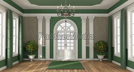 green and brown home entrance of
