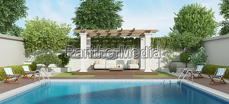 luxury garden with large pool