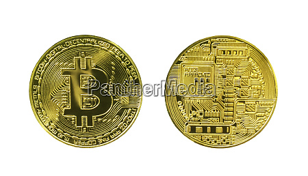 bitcoin front and back side isolated