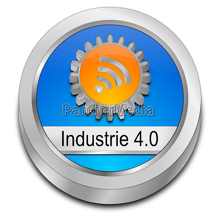 blue industry 40 button in