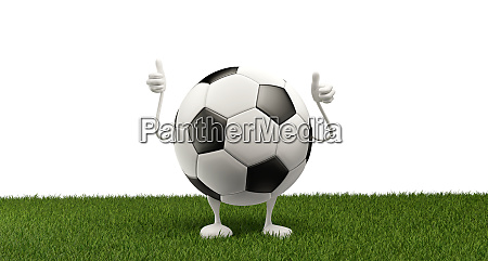 soccer ball thumbs up 3d illustration