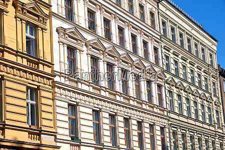facades of some renovated old apartment