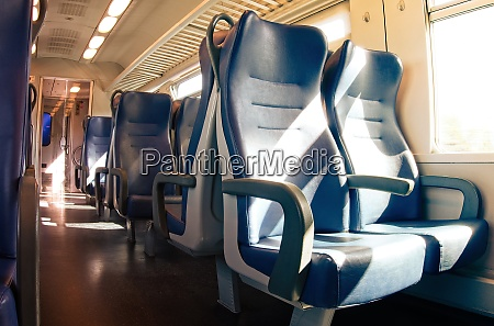 interior of a passenger train with