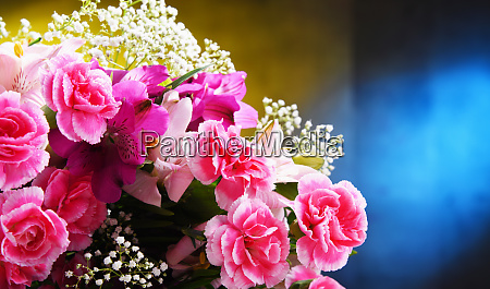 composition with bouquet of freshly cut