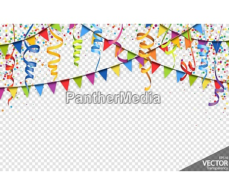 confetti garlands and streamers party background