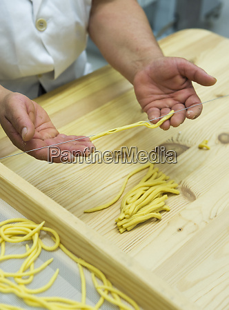 hand making fusilli typical cilento food