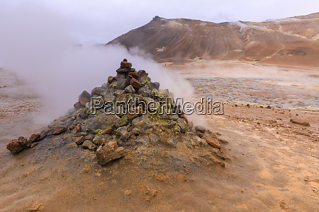 fumarole in namafjall geothermal area in