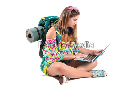 traveling girl with laptop