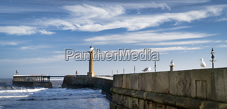 whitby west pier panorama and lighthouses