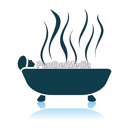 woman lying in bathtub icon