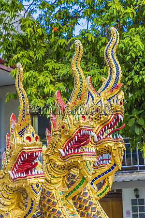 serpentine dragons on a temple at