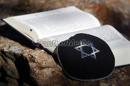 torah and kippah two jewish symbols