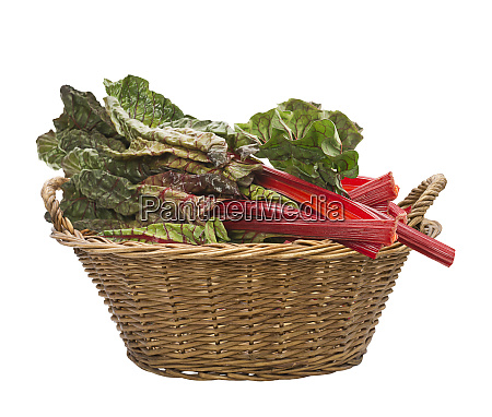 fresh swiss chard in a basket
