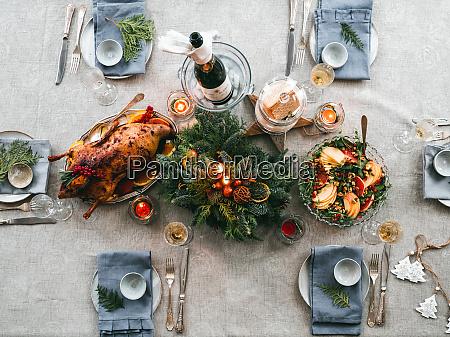 table setting for christmas dinner top
