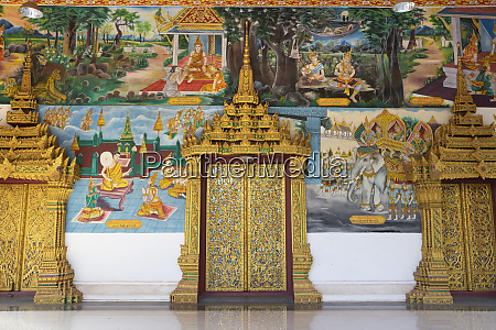 murals and golden doors at the