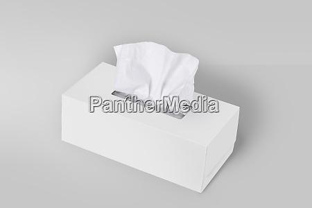 white blank tissue box on gray