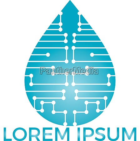 smart technology water logo design
