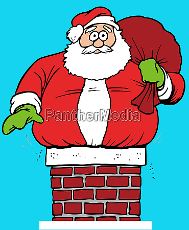 santa claus chimney stuck humor roof