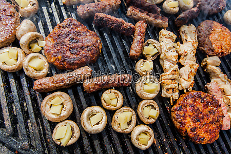 assortment of grilled meat and filled