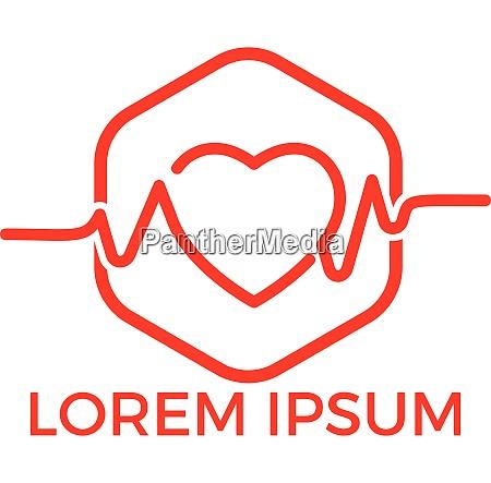 health heart logo with pulse vector