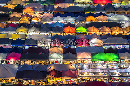 multi colored tents at the rod