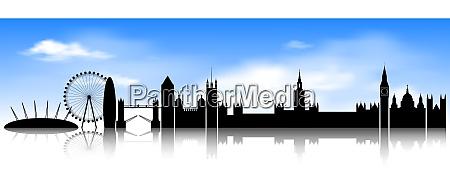 london skyline on blue sky background