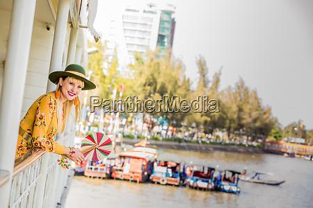 american woman tourist aboard the mekong