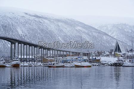 tromso harbour the bruvegen bridge and