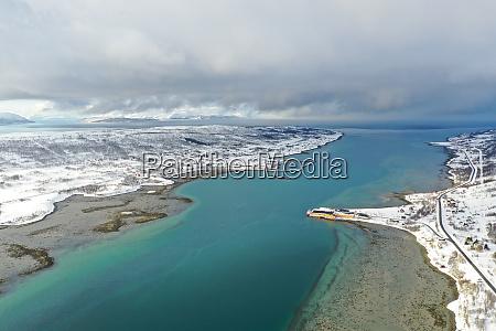 drone view of nordlenangen lyngen peninsula