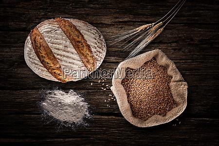 still life with baking rye bread