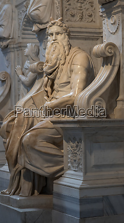 famous marble statue of moses in